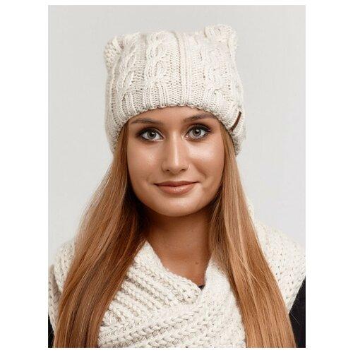 Женская зимняя шапка с ушками на флисе, крупная вязка, бежевый цвет