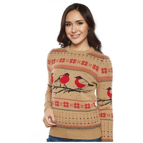 Женский свитер, классический скандинавский орнамент с птицами снегирями и снежинками, натуральная шерсть, бежевый цвет, размер L