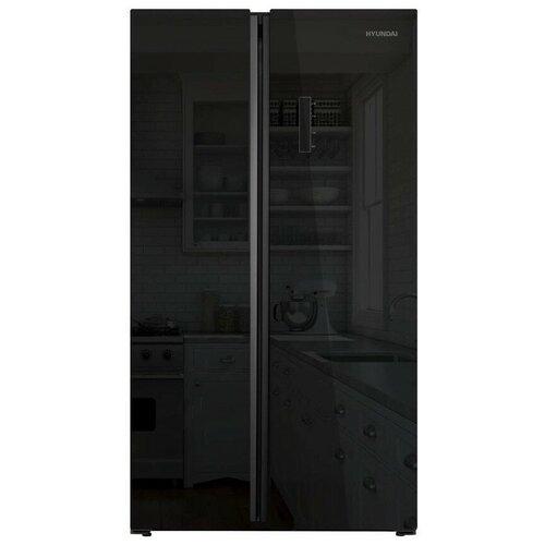 Холодильники Hyundai Холодильник Hyundai CS6503FV черное стекло