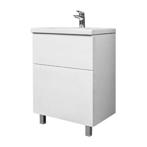Фото - Тумба для ванной комнаты с раковиной AM.PM Gem напольная (эмалированные фасады), ШхГхВ: 61х42х81 см, цвет: белый глянец тумба для ванной комнаты с раковиной am pm like напольная шхгхв 80х45х85 см цвет белый глянец