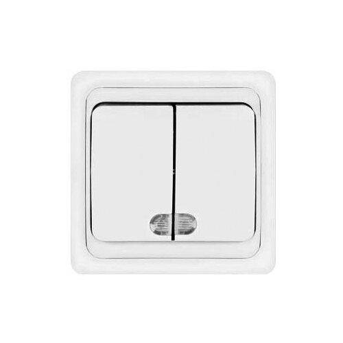 Выключатель двухклавишный без подсветки, скрытая установка