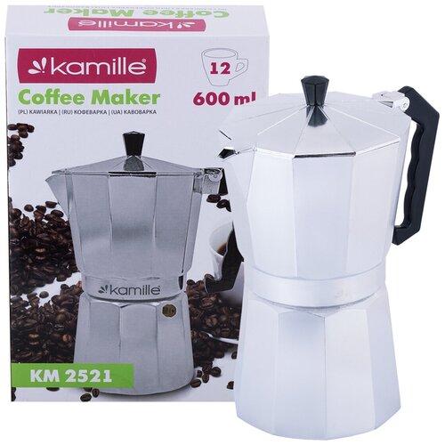 Кофеварка гейзерная 600 мл из алюминия Kamille KM-2521 (12 порций)