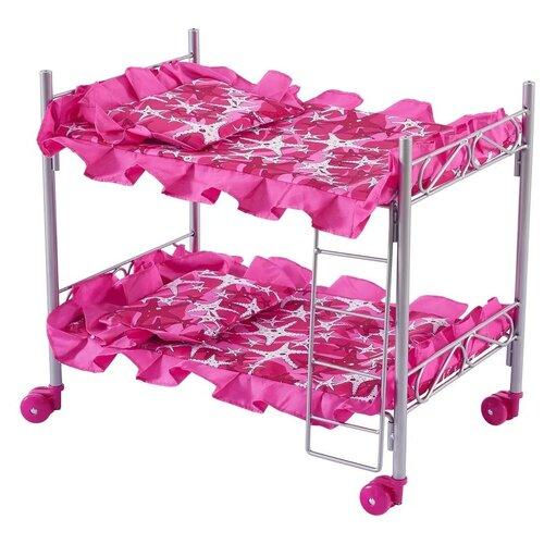 Buggy Boom Кроватка Loona двухъярусная (8887B) темно-розовый со звездами