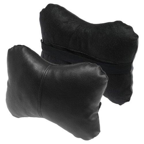 Подушка автомобильная косточка, на подголовник, экокожа, черный, 16х24 см 5206098