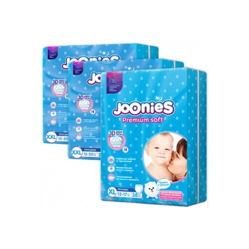 Joonies трусики Premium Soft XL (12-17 кг) 38 шт + трусики Premium Soft XXL (15-20 кг) 2x28 шт., 3 уп. трусики unik 3 шт