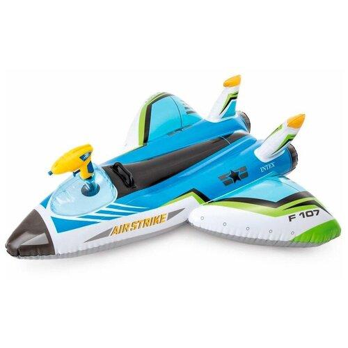 Фото - Надувная игрушка Самолет с водяным пистолетом INTEX синий, 117х117 см, от 3 лет игрушка наездник надувная intex черепаха с ручками intex 191х170 от 3 лет 57555