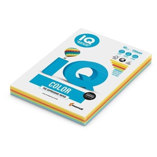 Фото - Бумага цветная IQ А4, 80 г, 5 цветов, Интенсив, по 50 листов, пачка 250 листов бумага цветная iq color а4 160 г м2 100 л 5 цветов x 20 листов микс интенсив rb02