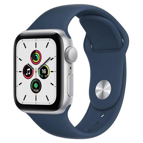 Умные часы Apple Watch SE GPS 40мм Aluminum Case with Sport Band, серебристый/синий омут умные часы apple watch series 3 38mm aluminum case with sport band серебристый белый