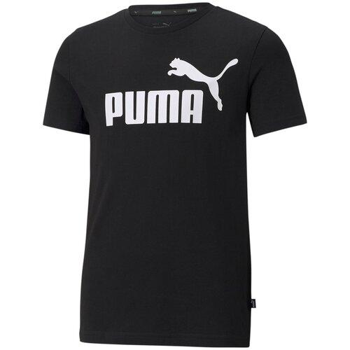 Футболка Puma Ess Logo Tee B Черный 128 58696001 puma футболка женская puma ess cropped logo размер 44 46