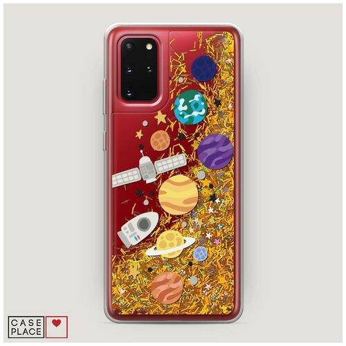 Фото - Чехол Жидкий с блестками Samsung Galaxy S20 Plus Нарисованные планеты 1 чехол жидкий с блестками samsung galaxy s20 plus цветочная фантазия 1