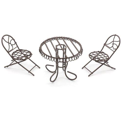 SCB271031 Металлическая мини мебель коричневая (стол и два стула), стол 7,5*6,5 см, стул 5,5*3,5*7 см, ScrapBerry's