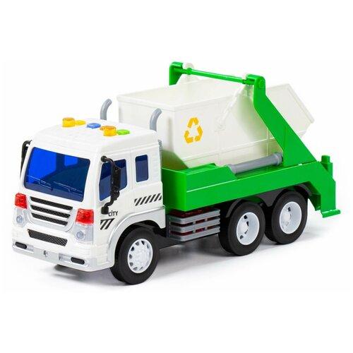 Купить Автомобиль Полесье Сити контейнеровоз инерционный со светом и звуком, зеленый, Машинки и техника