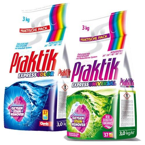 Набор Clovin: Стиральный порошок Praktik Color 3 кг + стиральный порошок Praktik Universal 3 кг