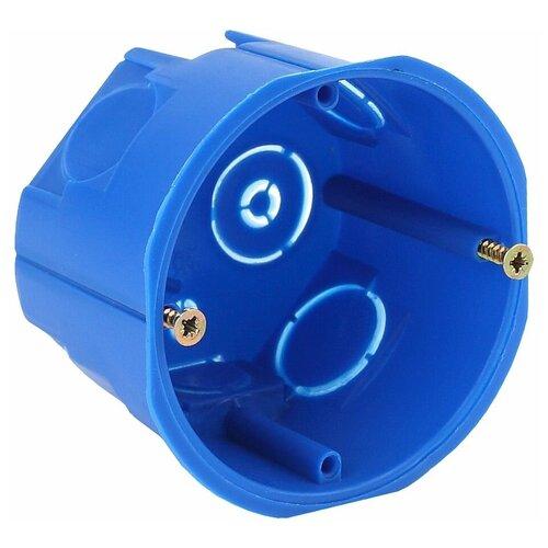 Фото - ЭРА Коробка установочн. КУТ 68х45мм для твердых стен саморез. синяя IP20 (200/4000) Б0037429 подрозетник промежуточный эра unipost 68х45мм ip30 для твердых стен синий