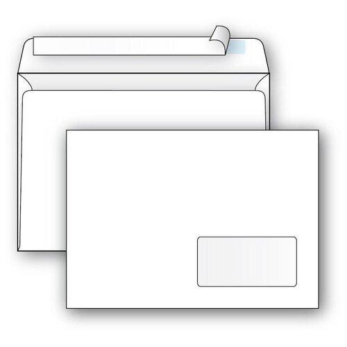 Конверт почтовый C5 Packpost Ecopost (162х229, 80г, стрип) белый, прав.окно, 1000шт.