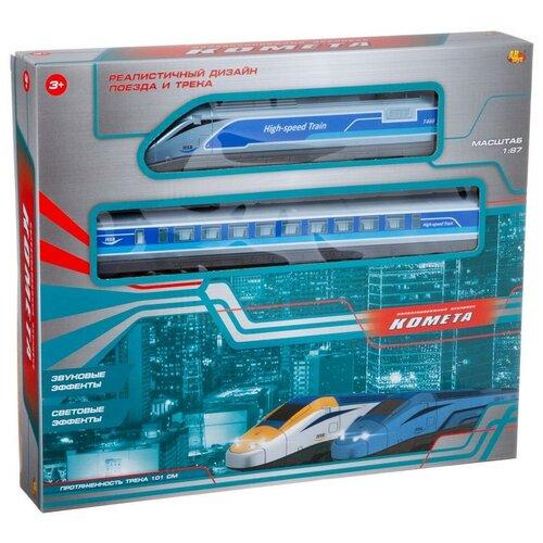 Купить Железная дорога Комета Железнодорожный экспресс 101 см, голубой поезд, свет, звук AbToys C-00409, Наборы, локомотивы, вагоны