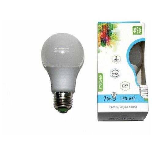Лампа светодиодная LED-A60-standard 7Вт 160-260В Е27 4000К 600Лм ASD