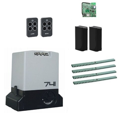 Автоматика для откатных ворот FAAC 741KIT-FA4, комплект: привод, радиоприемник, 2 пульта, фотоэлементы, 4 рейки автоматика для откатных ворот faac c720kit fa4 комплект привод радиоприемник 2 пульта фотоэлементы 4 рейки