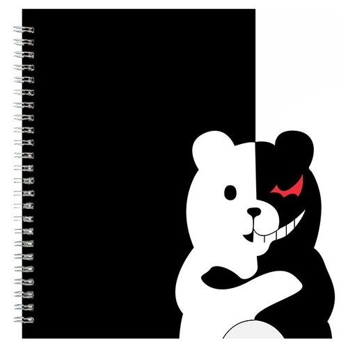 Альбом для рисования, скетчбук Монокума черно-белый мишка