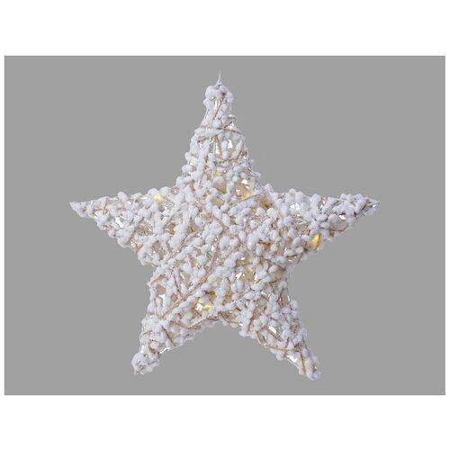 Подвесная хлопковая звезда, 10 тёплых белых LED-огней, 30 см, таймер, батарейки, Kaemingk светящееся панно баночка снеговичков merry christmas mdf 5 тёплых белых led огней 17x27 см таймер батарейки kaemingk