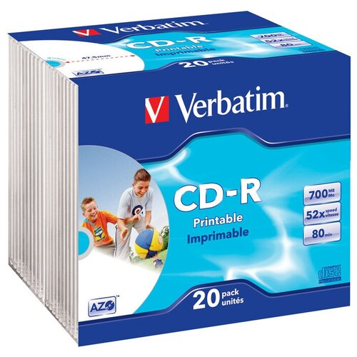 Фото - Диск Verbatim CD-R 700 Мб DL+ 52х Slim Photo Printable диск cd r verbatim 700 mb 52x cake box 50 dl full ink printable 50 200 43438