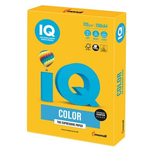 Фото - Бумага цветная IQ color, А4, 120 г/м2, 250 л., интенсив, солнечно-желтая, SY40 бумага цветная iq color а4 160 г м2 100 л 5 цветов x 20 листов микс интенсив rb02
