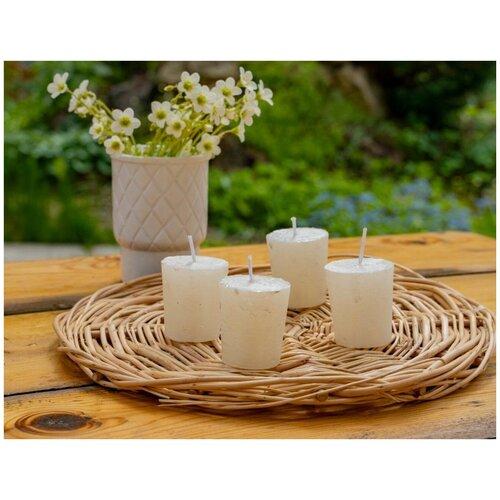 Набор свечей-столбиков металлик мрамор мини, белые, 4.3x4.7 см, (упаковка 4 шт.), Kaemingk 205562
