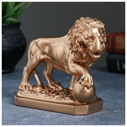 Фигура Лев с шаром бронза 13см 2738419 фигура лев сидя с шаром бронза 29х18х45см