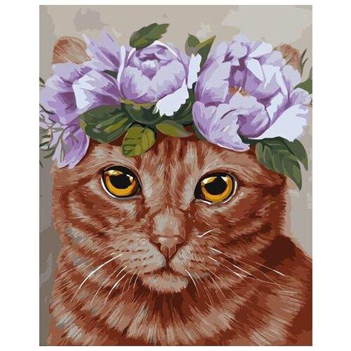 Купить Картина по номерам 40х50 см. Colibri / Рыжий кот в веночке / VA-2348 / Холст на подрамнике, Картины по номерам и контурам