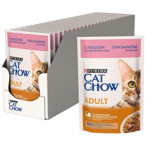 Фото - Влажный корм для кошек CAT CHOW с лососем, с зелёной фасолью 26 шт. х 85 г (кусочки в желе) влажный корм для кошек cat chow с ягненком с зелёной фасолью 34 шт х 85 г кусочки в желе