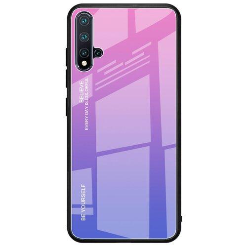 Чехол-бампер MyPads для iPhone 5 / 5S/ SE/ 5SE (Айфон 5/ 5С/ 5СЕ) стеклянный из закаленного стекла с эффектом градиент зеркальный блестящий переливающийся сиреневый