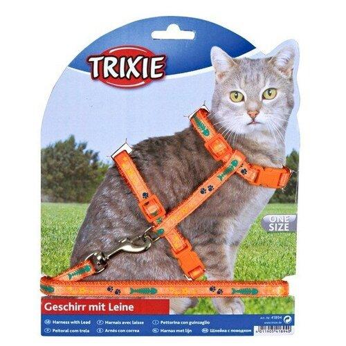 Шлейка с поводком для кошки, нейлон, с рисунком, 22–36 см/10 мм, 1.20 м, Trixie (цвет может отличаться, 4209)