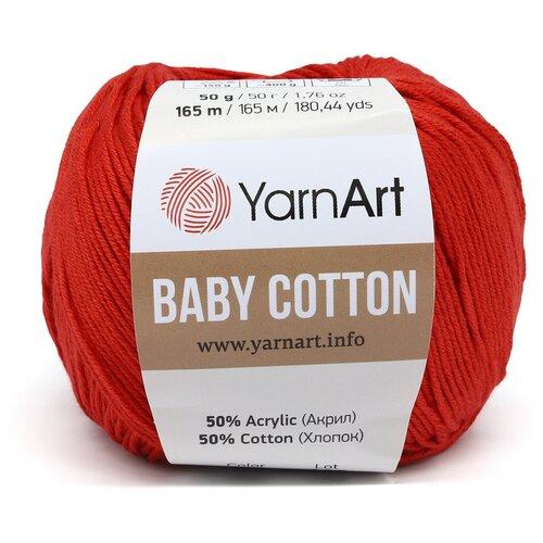 Фото - Пряжа YarnArt 'Baby Cotton' 50гр 165м (50% хлопок, 50% акрил) (426 красный), 10 мотков пряжа yarnart baby 50гр 150м 100% акрил 1182 коричневый 5 мотков