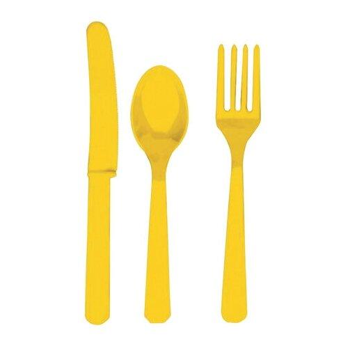 Многоразовые приборы (ножи, вилки, ложки), набор 24 шт., пластик, желтый цвет, 1502-1084
