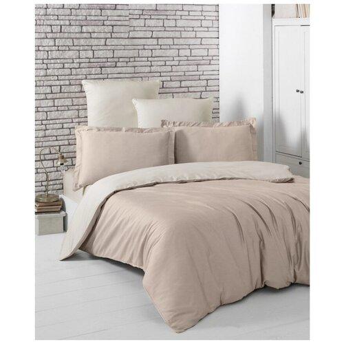 Комплект постельного белья евро (двухстороннее) LOFT (кофейный - бежевый) комплект постельного белья karna евро сатин однотонный loft екрю 2986 char003