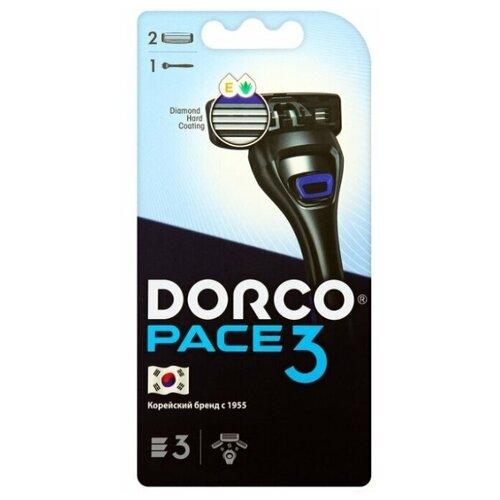 Бритвенный станок Dorco PACE3 (1 станок, 2 кассеты), 3 лезвия, плав.головка, крепление PACE бритвенный станок dorco pace 4 одноразовый 4 шт