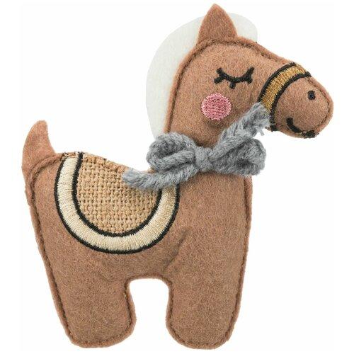 Игрушка Лошадь, ткань, с кошачьей мятой, 10 см, Trixie (игрушка для кошек, 45534) trixie trixie набор мышек для кошек 5 см с мятой 6 шт