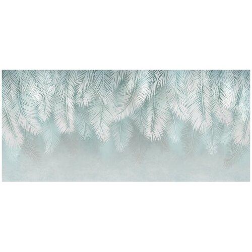 Фотообои Листья пальмы в светлых тонах/ Красивые уютные обои на стену в интерьер комнаты/ 3Д расширяющие пространство над кроватью или над столом/ На кухню в спальню детскую зал гостиную прихожую/ размер 600х270см/ Флизелиновые