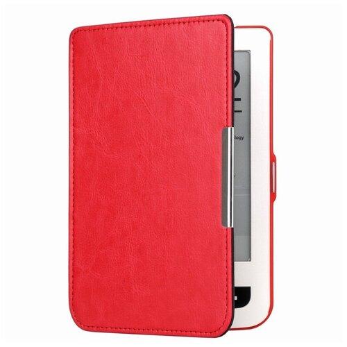 Чехол-обложка футляр MyPads для PocketBook 515 из качественной эко-кожи тонкий с магнитной застежкой красный
