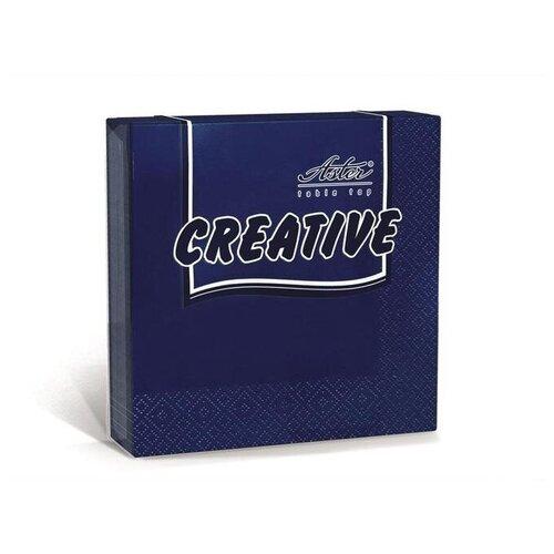 Салфетки бумажные 24x24см, 3-слойные Aster Creative, синие, 20шт.  - Купить
