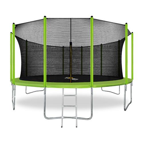 Фото - Батут с внутренней сеткой и лестницей ARLAND 16FT (Light Green) каркасный батут arland премиум 16ft с внутренней страховочной сеткой и лестницей dark green