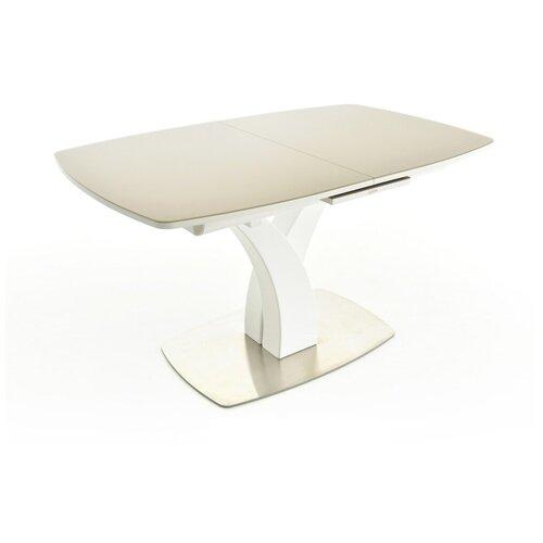 EVITA Стол обеденный раздвижной Нотр-Дам столешница стекло Opti цвет Капучино опора белая/140(171,5)*85*76 см/Стол для гостиной/Стол для столовой/Стол для кухни/Дизайнерский стол