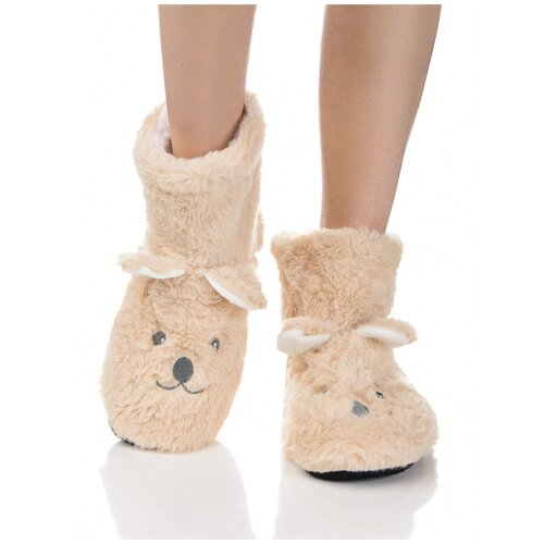 Плюшевые носки домашние Мишки с накладными ушками, противоскользящая подошва, внутренний подклад из искусственного меха, бежевый цвет, размер 36-38