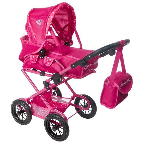Фото - Коляска-трансформер 2-в-1 для кукол 8459 Buggy Boom Infinia, розовый с рисунком сердечки коляски для кукол buggy boom инфиниа 8459 2 в 1