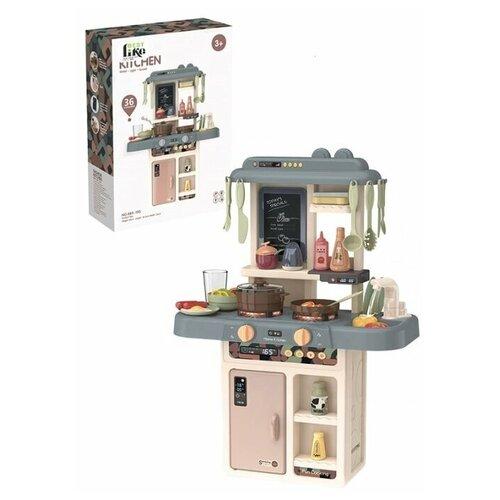 Кухня с холодильником, водой, светом и звуком, высота 63см, 36 предметов BL0067 большой набор кухня с посудой и продуктами 55 предметов со светом звуком и водой 82см