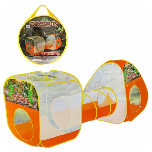 Купить Игровой комплекс Наша Игрушка Мир Динозавров, 2 палатки с туннелем, 242*90*88 см, сумка на молнии (345A-18), Наша игрушка, Игровые домики и палатки