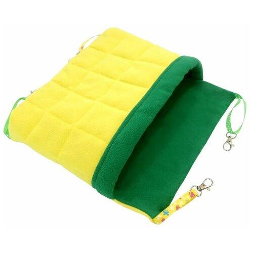 Гамак для хорьков и мелких грызунов с карманом Доброзверики Одеяло, размер М, желтый-зеленый гамак для хорьков и мелких грызунов доброзверики классический 1 зеленый серый 24х24 см