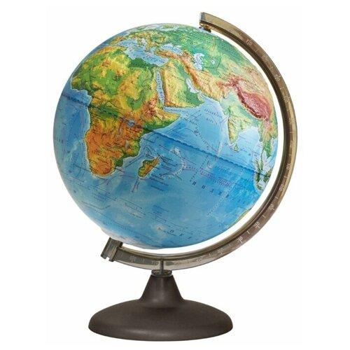 Глобус Земли физический рельефный с подсветкой от батареек, диаметр 250 мм, 16020
