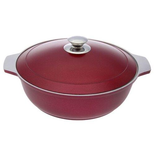 Жаровня «Бордо», d=26 см, 3 л, алюминиевая крышка, цвет красный сковорода d 24 см kukmara кофейный мрамор смки240а