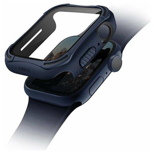 Чехол Uniq TORRES +9H glass Anti-microbial для Apple Watch 44 мм, цвет Синий